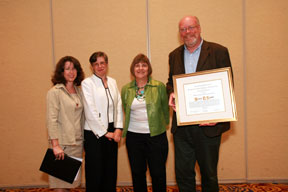 marla chesler (award jury), mary case (alcts president), connie foster (crs), steve shadle (award recipient)