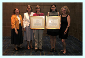 xudong jin (award jury), mary case (alcts president), patricia dragon (award recipient), peggy johnson (lrts editor)