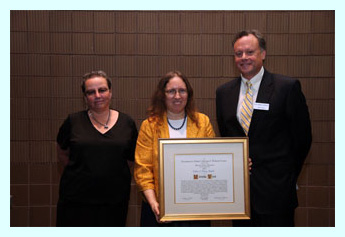 ann vidor (award jury), mary case (alcts president), kelly mcgrath (award recipient), mark kendall (ybp)