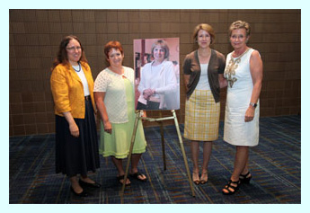 william garrison (award jury), mary case (alcts president), peggy johnson (award recipient), kitti henderson (ebsco)