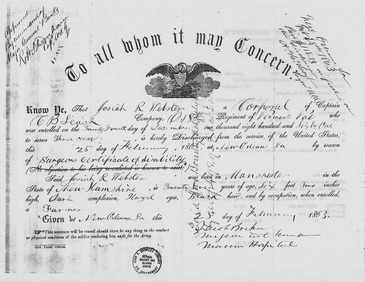 Civil War discharge documents
