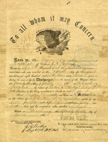 Discharge paper for Myron Kennedy,1865-06-23