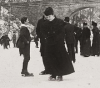 Ice skating on a frozen river circa 1900