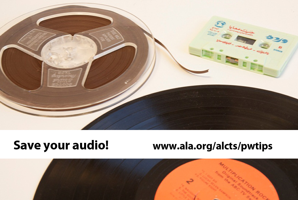 audio reels, long play records and cassette tapes
