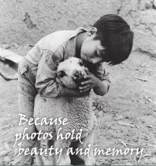 Because photos hold beauty and memory (photo of boy and sheep)