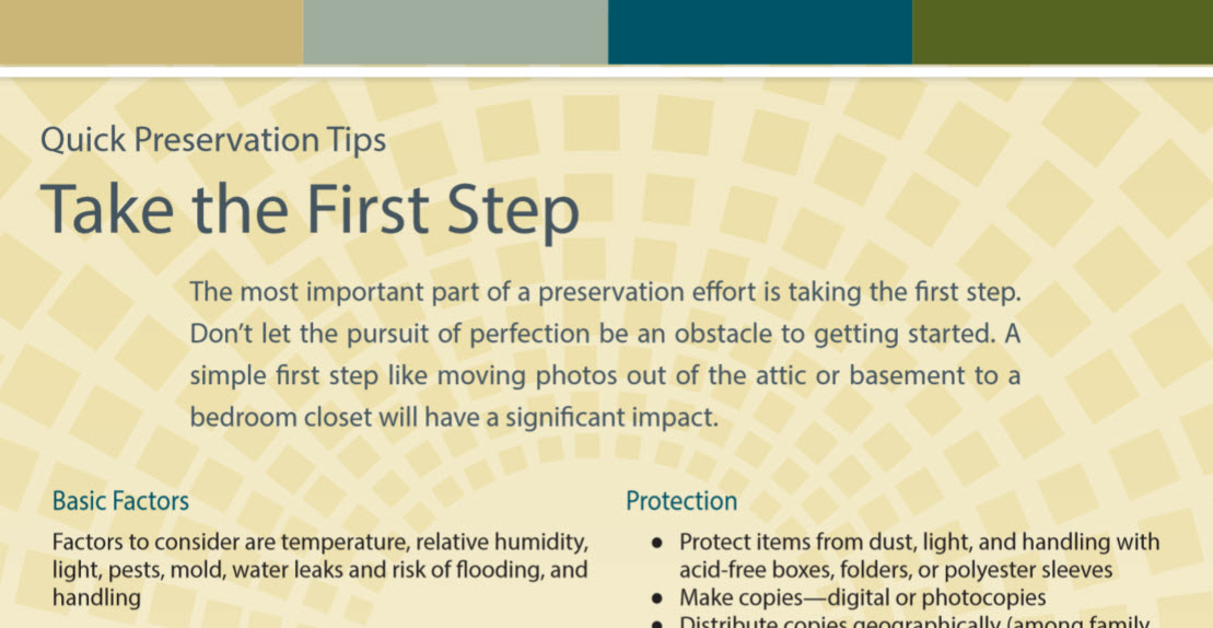 Quick Preservation Tips flyer