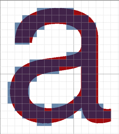 A bitonal example of how pixels relate to an object.