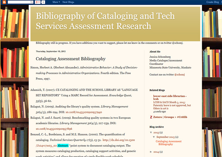 Cataloging Assessment Bibliography