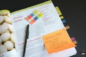 sticky note in textbook