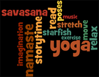 collage of words about yoga storytime