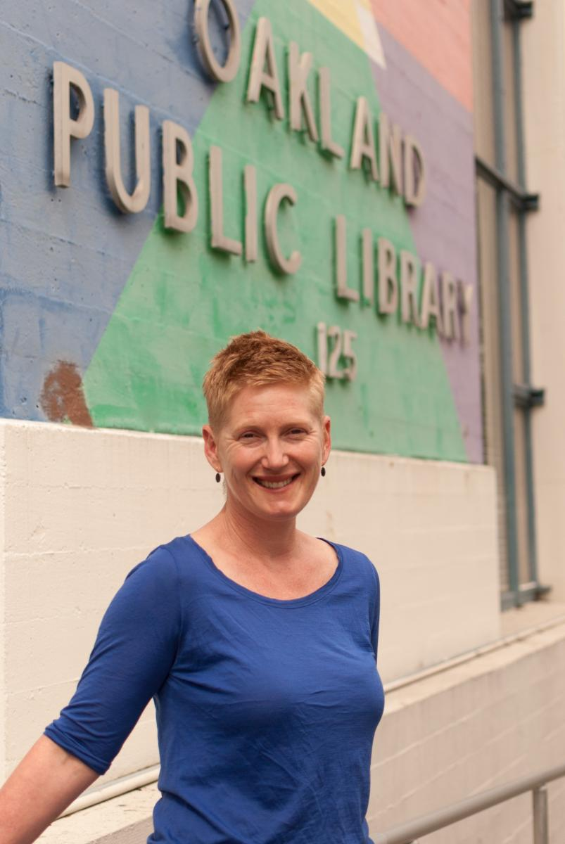 Nina in front of Oakland Public Library