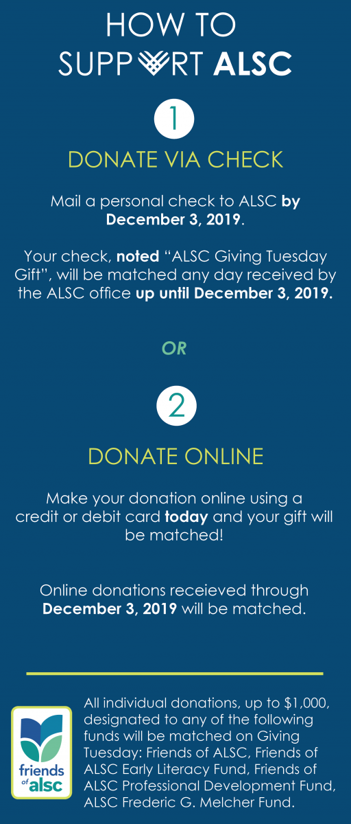 how to support ALSC checklist - Donate by check or Donate online