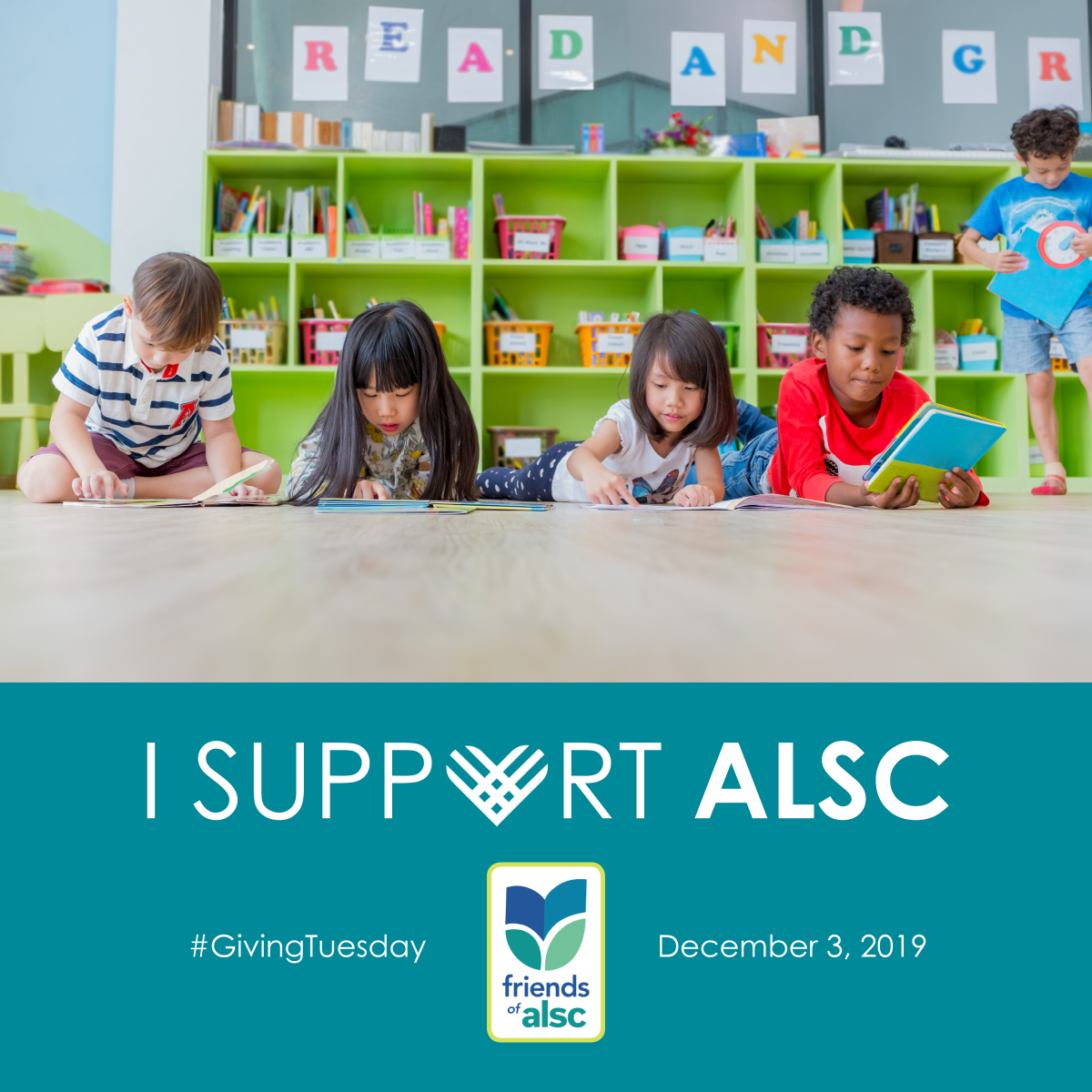 I support ALSC - graphic with children