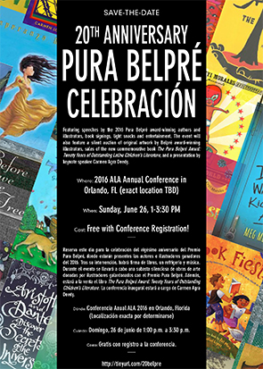 Save the Date - Pura Belpre Award 20th Anniversary - Sunday, June 26, 1 p.m. local time