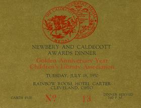 Newbery and Caldecott Awards Dinner, July 18, 1950 - ticket