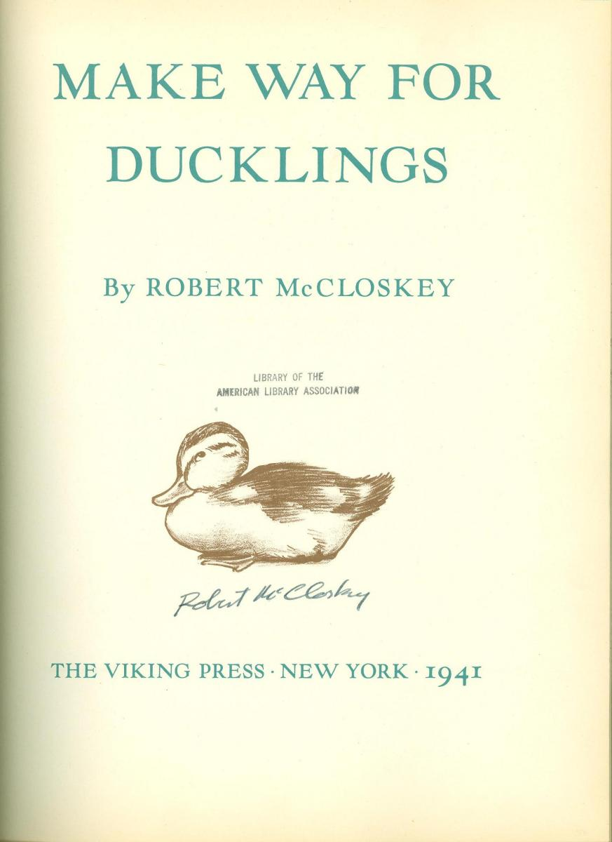Make Way for Ducklings - title page image