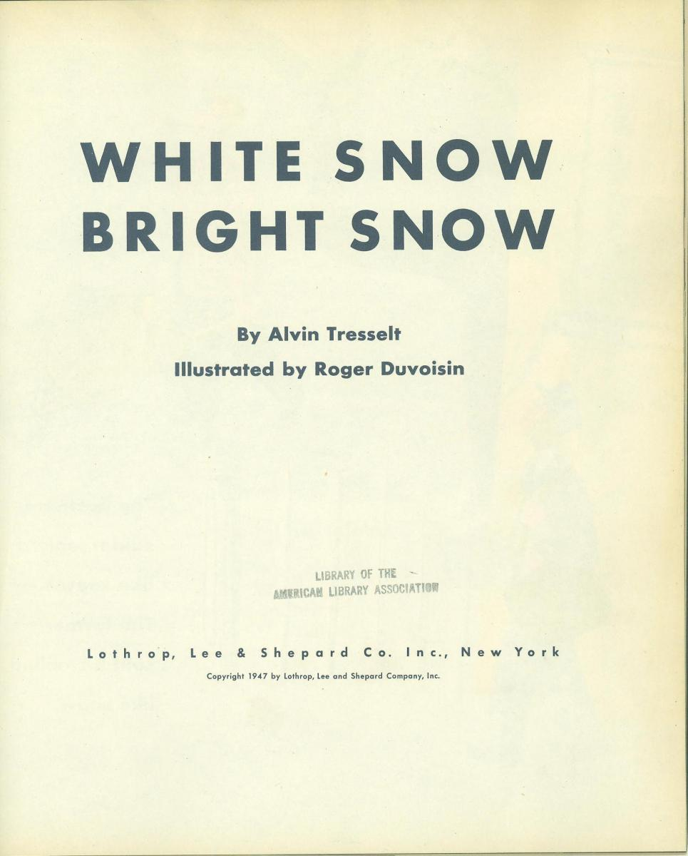White Snow, Bright Snow - title page image