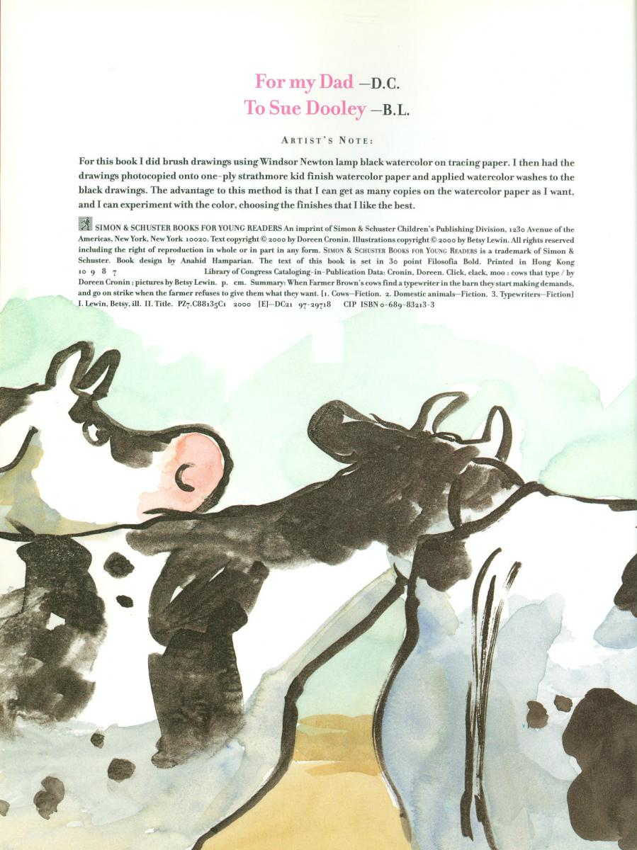 Click, Clack, Moo: Cows that Type - copyright page
