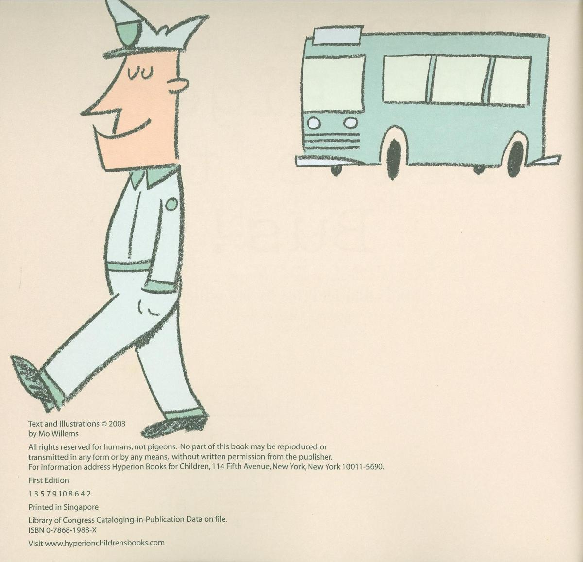 Don't Let the Pigeon Drive the Bus! - verso page