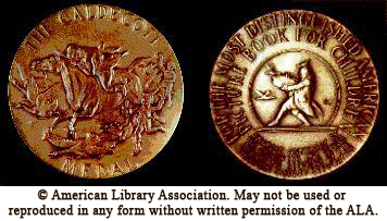 front and back view of medal - The Caldecott Medal is the property of the American Library Association and cannot be used in any form or reproduced without permission of the ALA Office of Rights and  permissions.