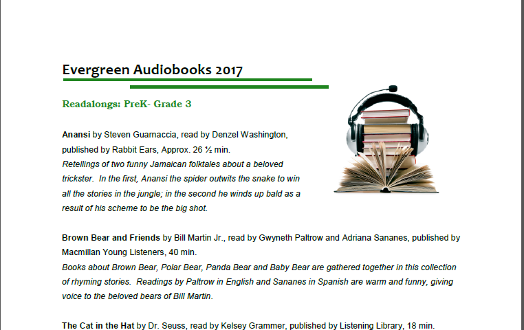 Cropped image of Evergreen Audiobooks  List
