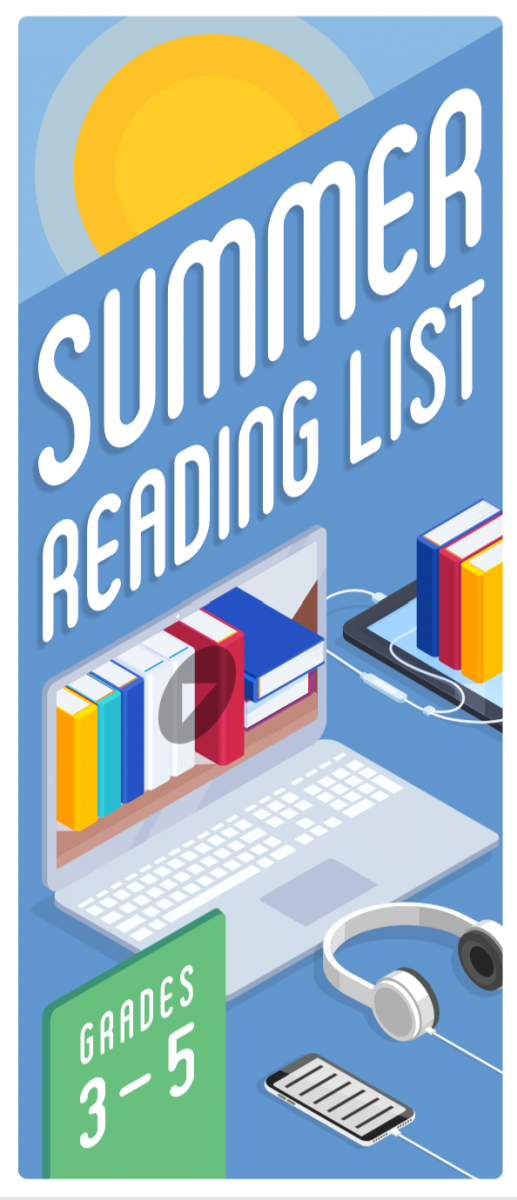 cover image summer reading lists Grades 3-5 shows laptop displaying image of books, stack of books atop e-reader, and phone with headphones