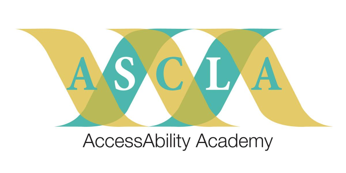 Access Ability Academy logo with ASCLA acronym interlaced between gold and aqua colored wavy lines