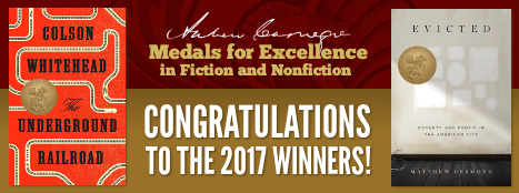 Congratulations to the 2017 winners, Andrew Carnegie Medals for Excellence, Pictured: Bookcovers, The Underground Railroad and Evicted
