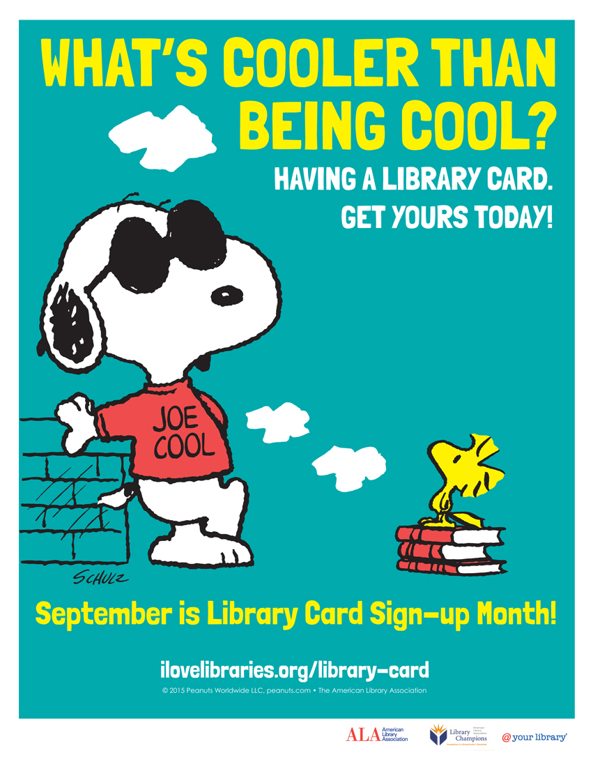 8.5 x 11 inch print: Library Card Sign-up Month Public Service Announcement featuring Snoopy