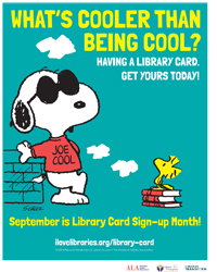 Library Card Sign-up Month Public Service Announcement featuring Snoopy