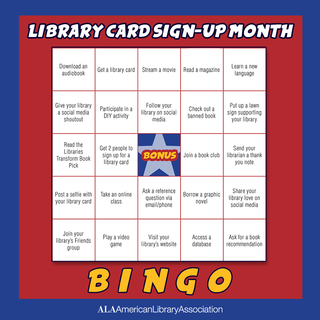 Library Card Sign-up Month Bingo Card