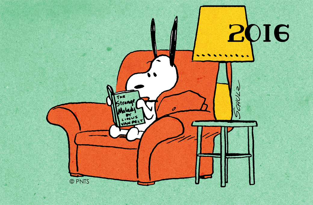 Artwork for custom library card featuring Snoopy reading a book.
