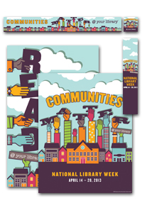Set of promotional materials: Communities matter at your library