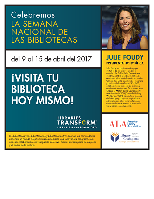 Spanish language print PSA with Julie Foudy