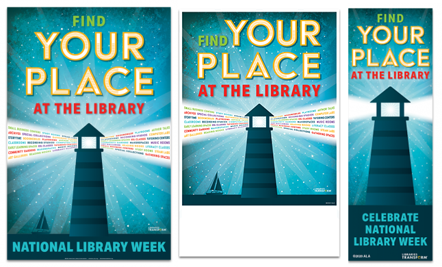 National Library Week poster, mini-poster and bookmark