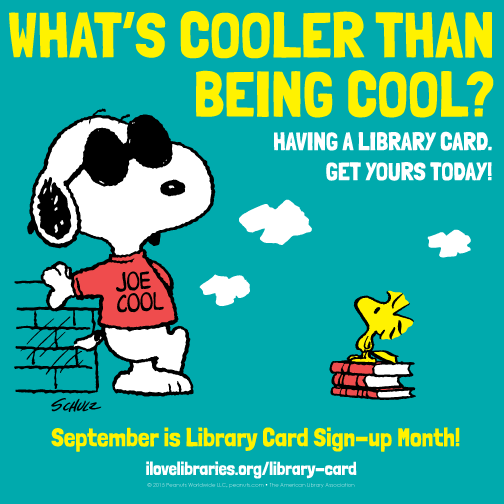 504px x 504px version: Library Card Sign-up Month Public Service Announcement featuring Snoopy
