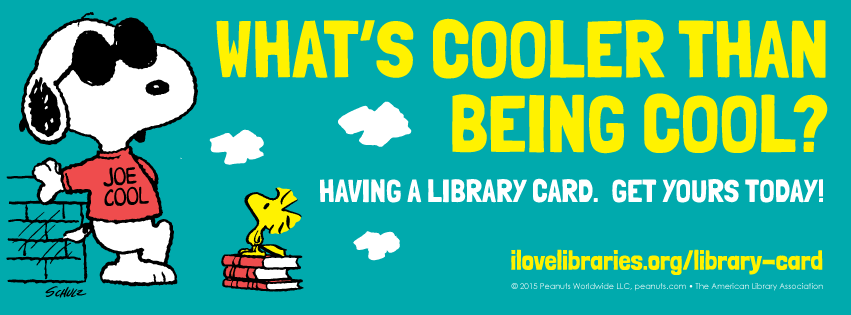Facebook cover art version: Library Card Sign-up Month Public Service Announcement featuring Snoopy