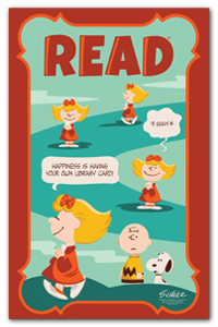 READ poster featuring Sally (from Peanuts cartoon strip) Happiness is having your own libary card