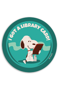 "Sticker featuring Snoopy ""I got a Library Card"""