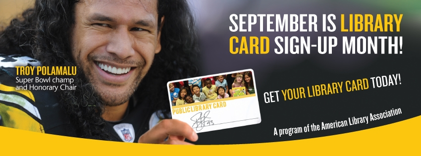 Super Bowl winner and Honorary Chair of Library Card Sign-up Month Troy Polamalu