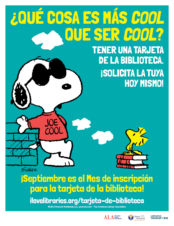 Library Card Sign-up Month Public Service Announcement featuring Snoopy in Spanish