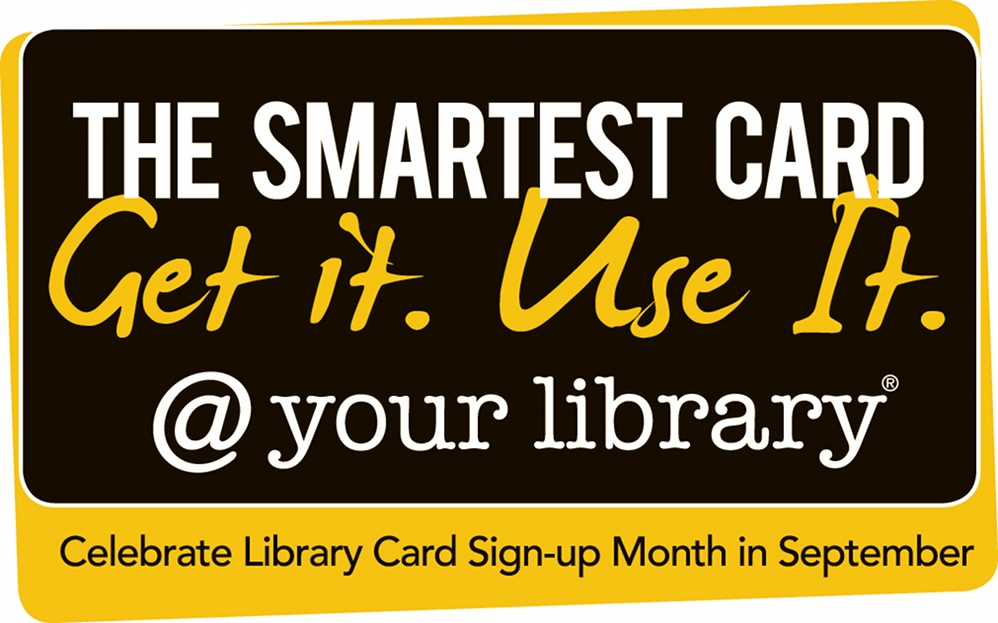 Library Card Sign-up Month Logo