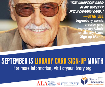 Library card signup month banner