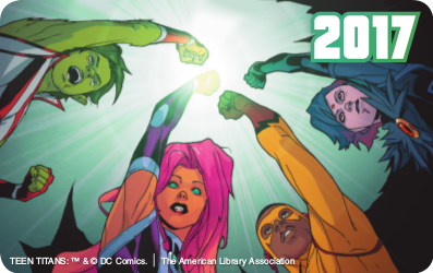 Artwork for custom library cards featuring Teen Titans