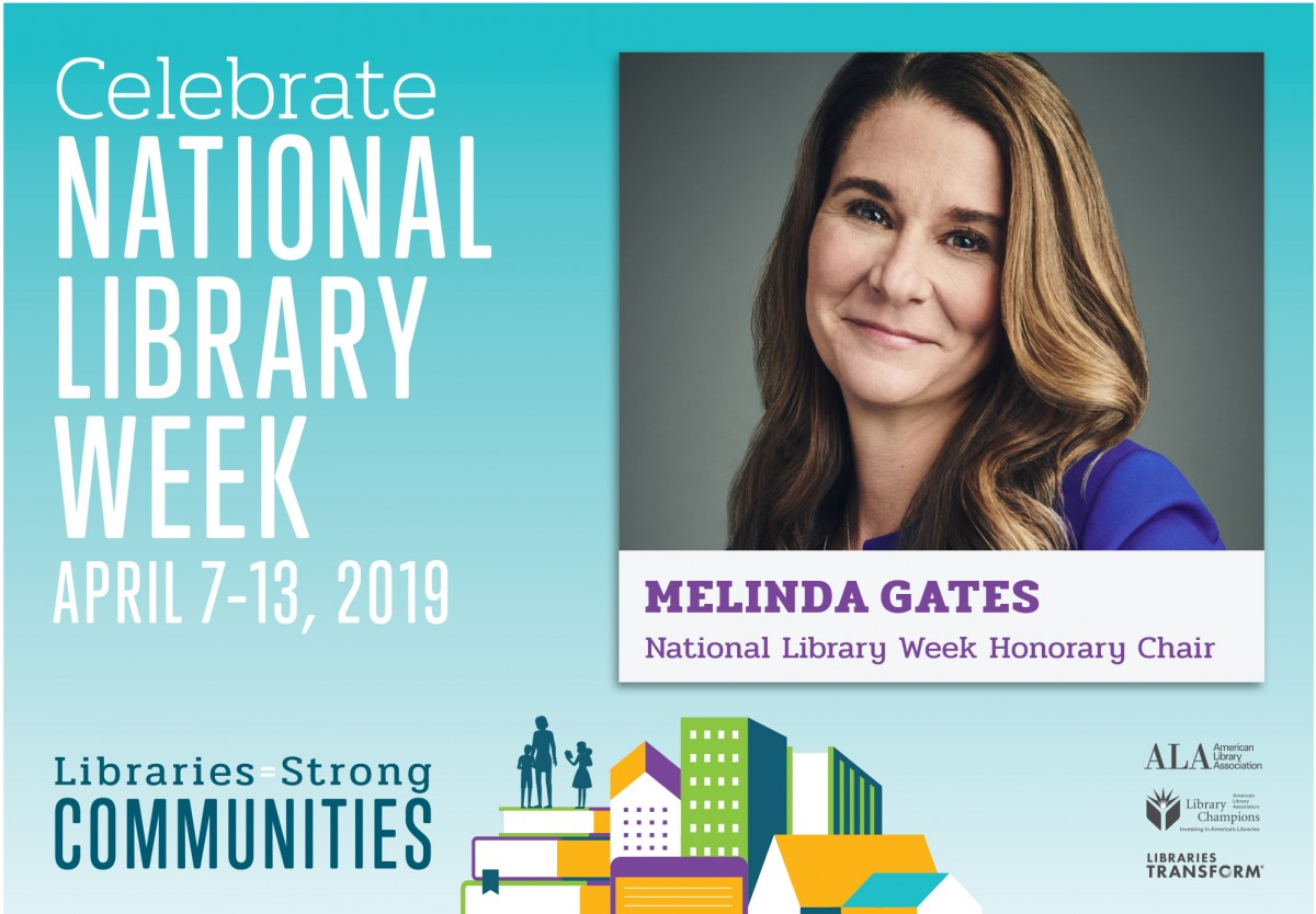 Printable PostcaPrintable postcard: Libraries = Strong Communities, Celebrate National Library Week, April 7-13, 2019, American Library Association, ALA Library Champions, Libraries Transform