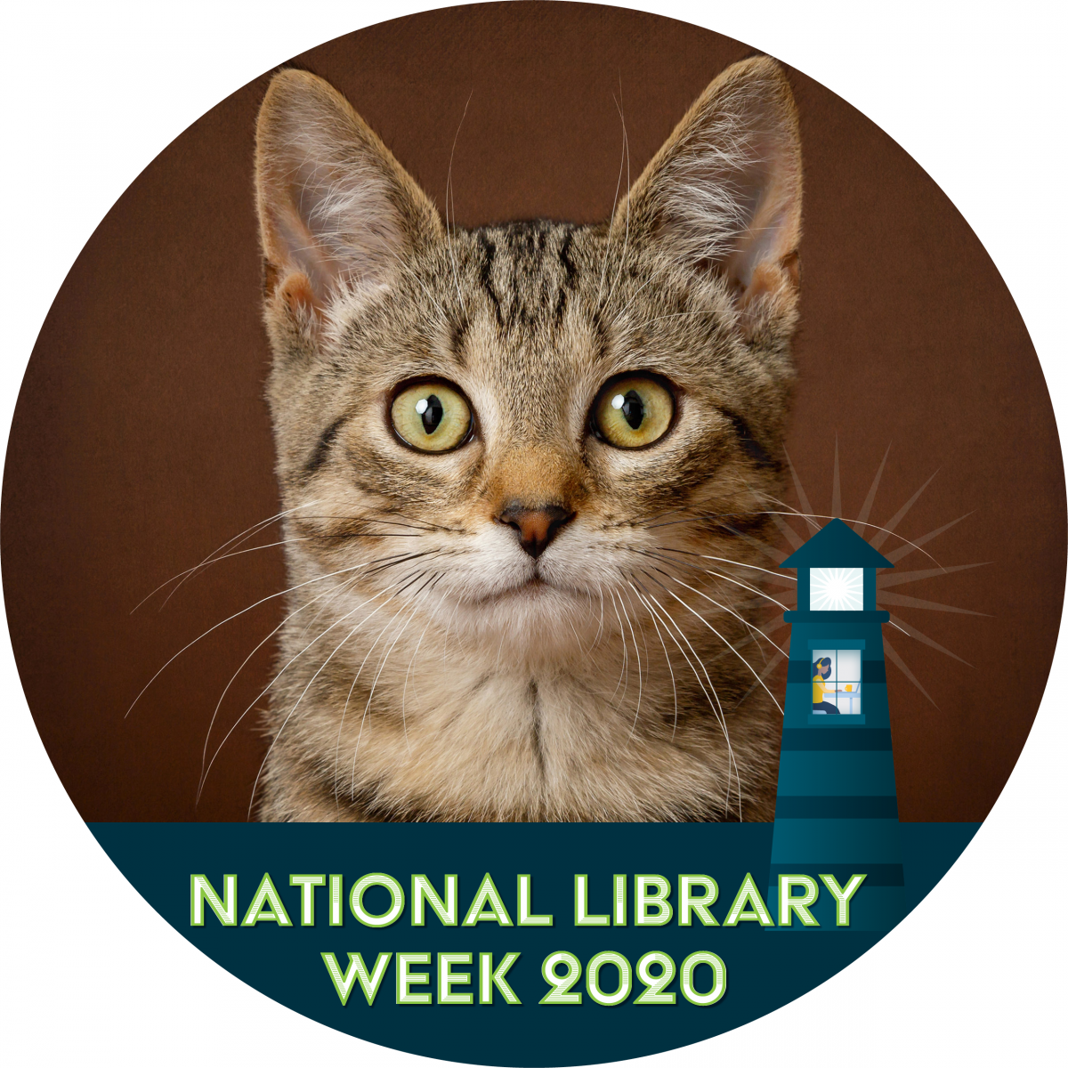 Cat using the National Library Week Fcebook frame
