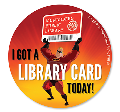 Mr. Incredible holding a giant library card (Municiberg Public Library)