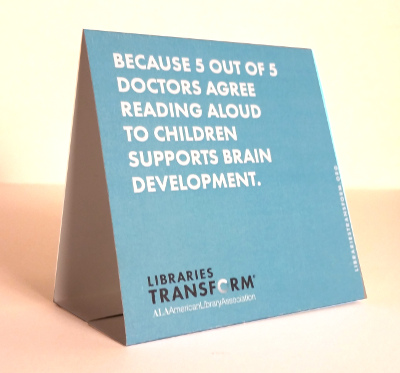 Beautiful Table Tent: Because 5 Out Of 5 Doctors Agree Reading Aloud To Children  Supports Brain