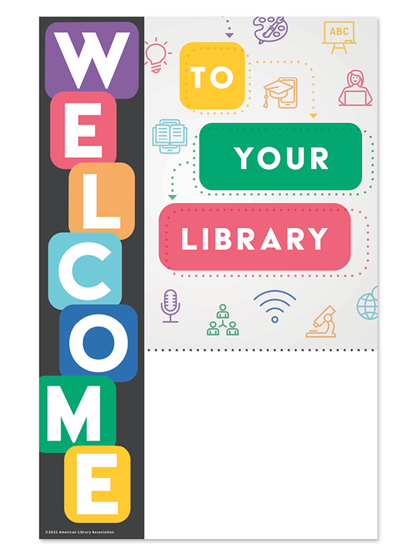 Digital file: Welcome to your library with blank space to personalize