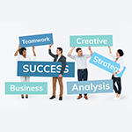 image of people holding signs that read teamwork, success, creative, strategy, analysis and business